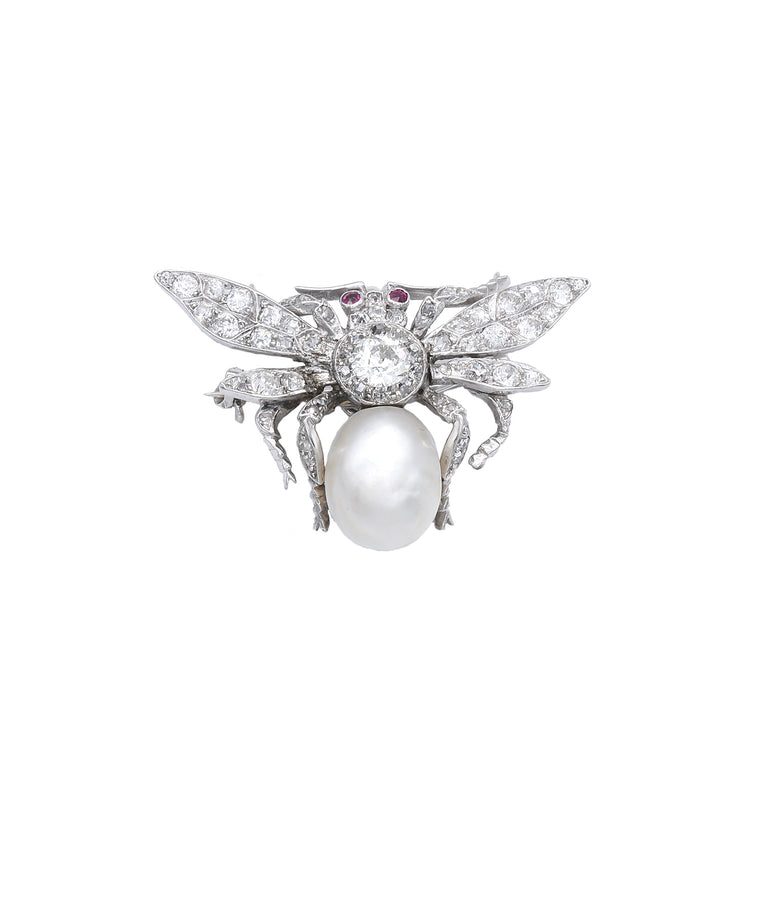 Antique Diamond and Pearl Bee Brooch/Pendant