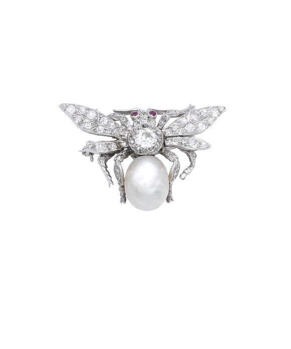 Antique Diamond and Pearl Bee Brooch or Pendant - Lesley Ann Jewels