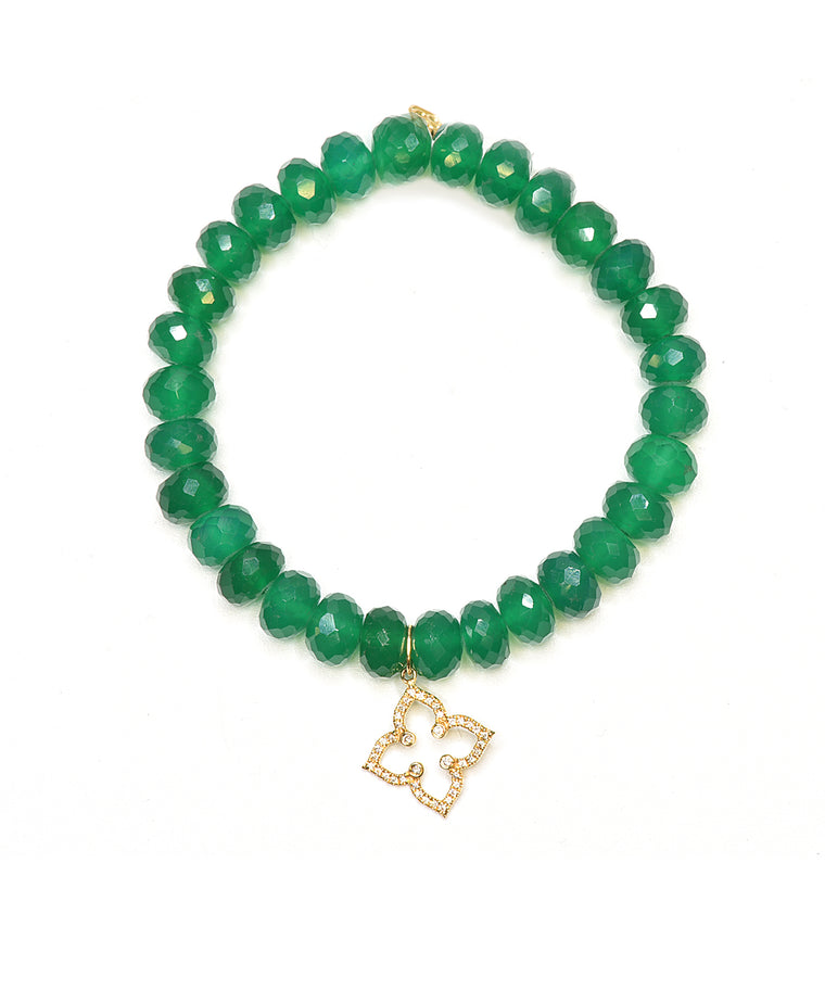 Green onyx bracelet with Moroccan star charm