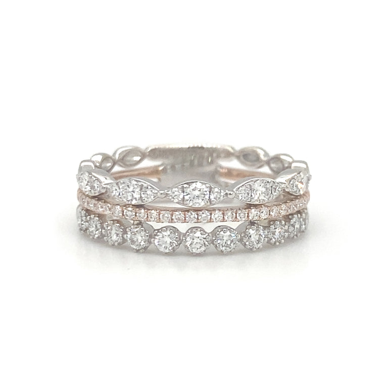 Three Banded Diamond Stack Ring