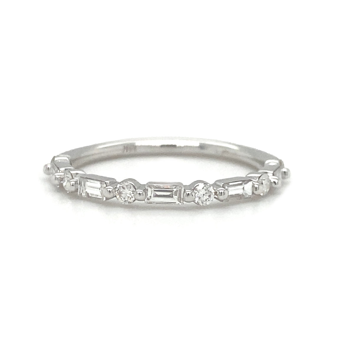 Round and Baguette Diamond Halfway Stack Band