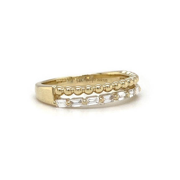 Yellow Gold and Baguette Diamond Double Stack Band