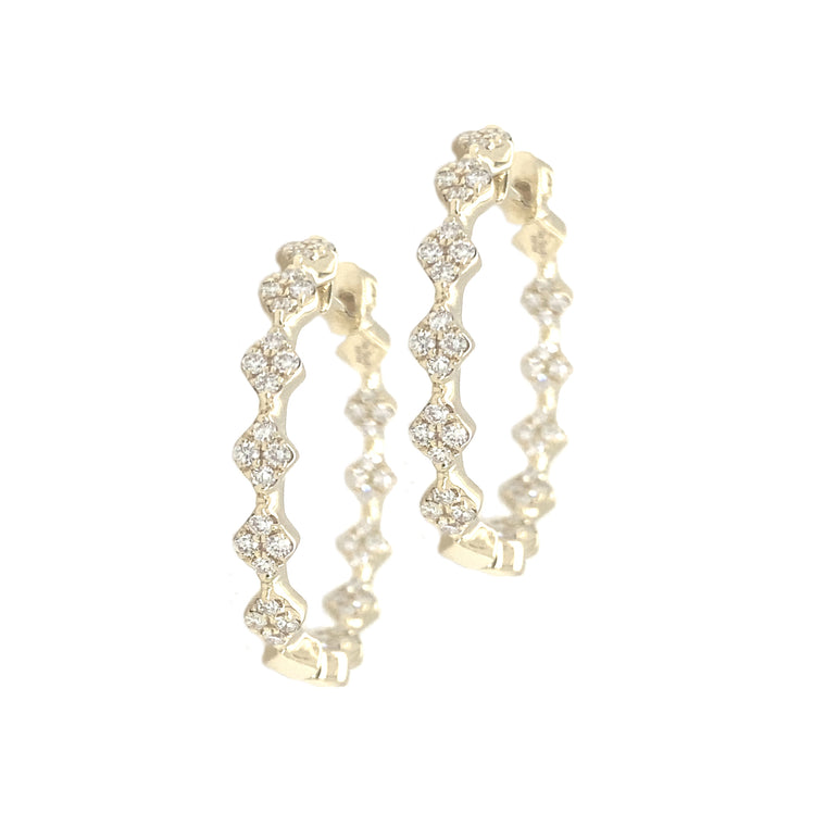 Round Pave Diamond In and Out Hoop Earrings