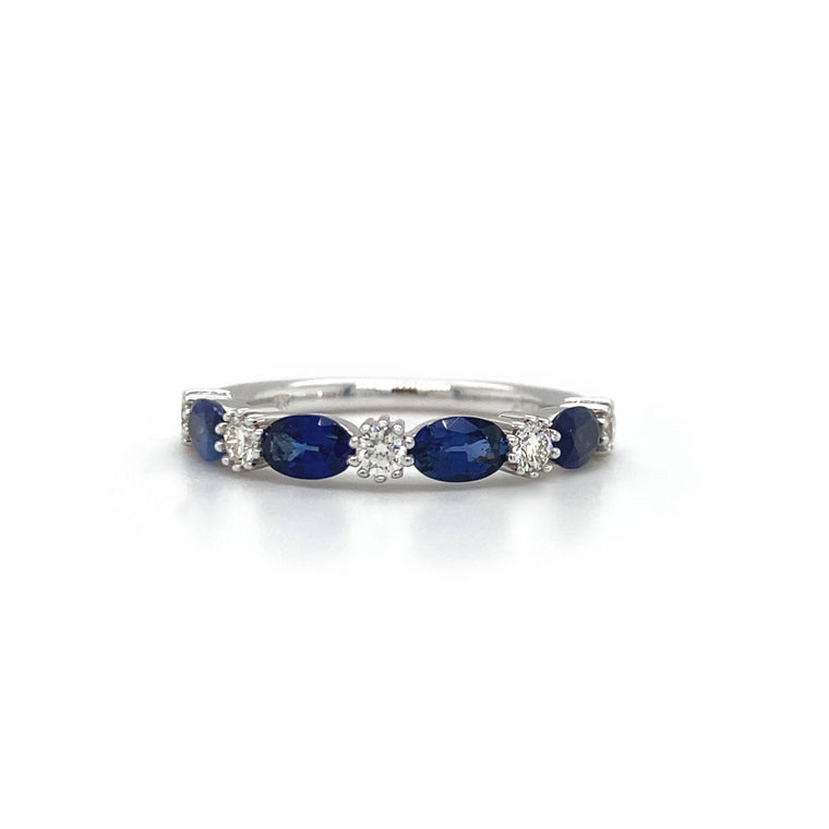Oval Blue Sapphire Halfway Band
