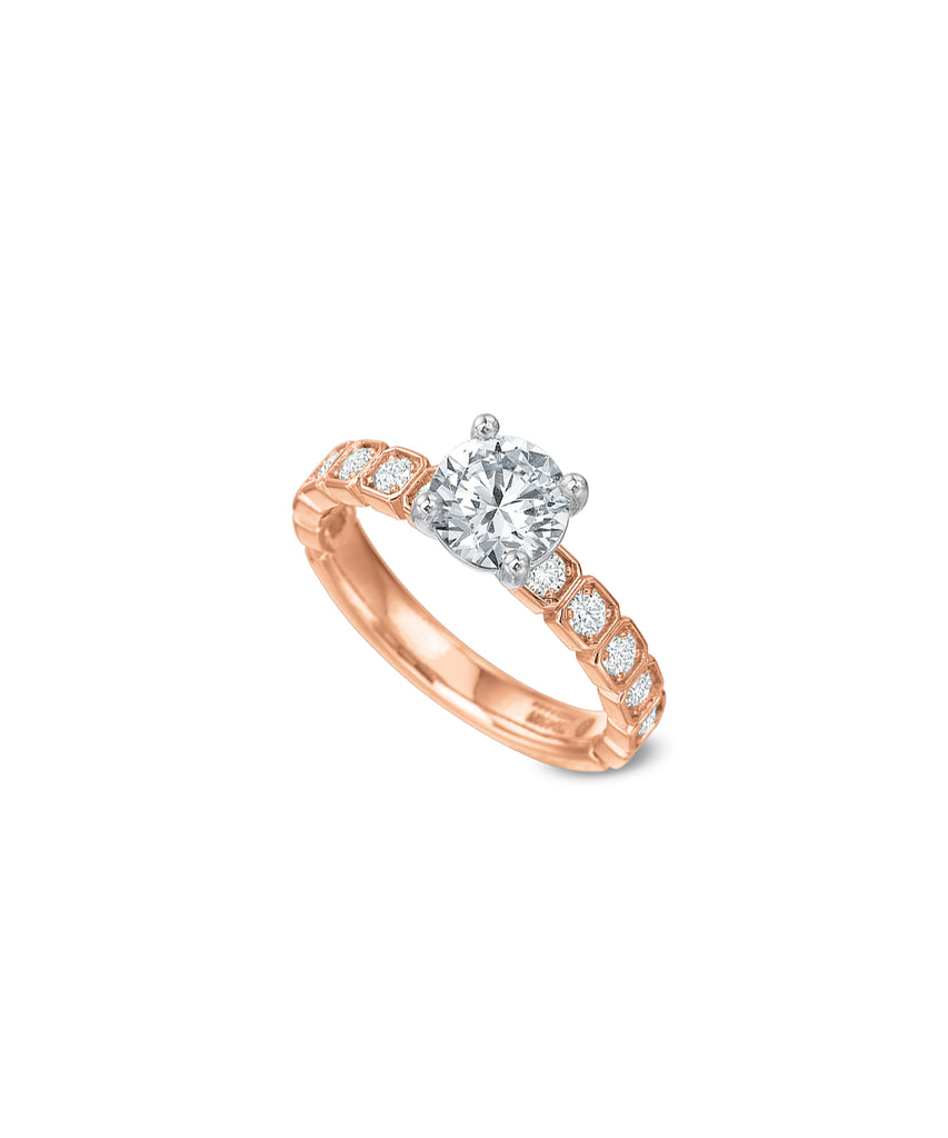 Semimount in Rose Gold with Round Diamonds - Lesley Ann Jewels