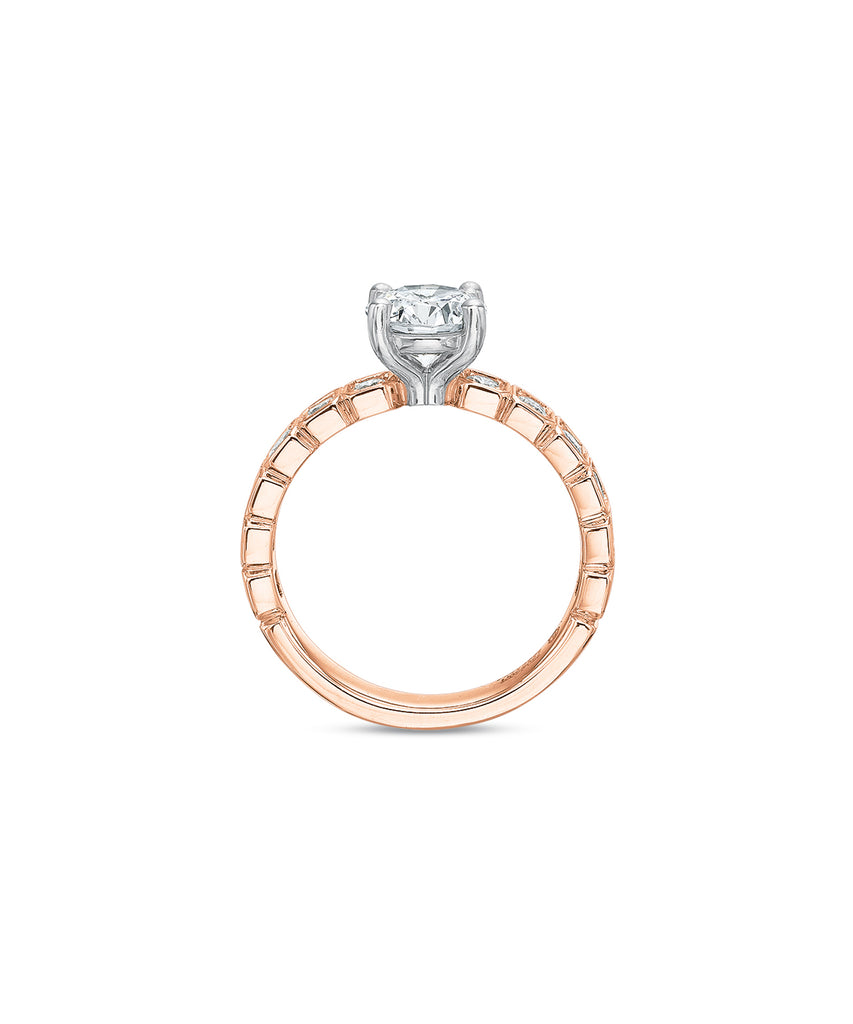 Semi Mount in Rose Gold with Round Diamonds