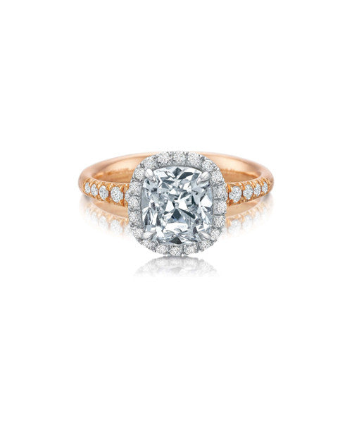 Rose gold solitaire with cushion cut center