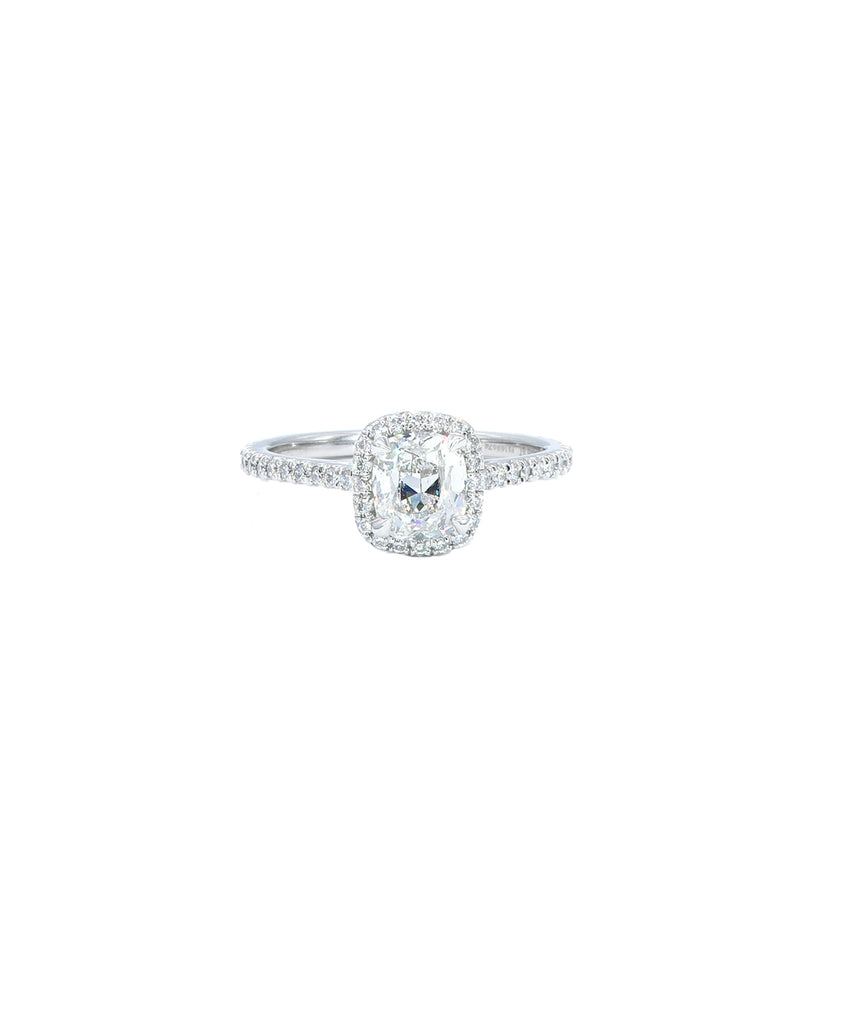 Cushion Cut Diamond in Platinum Halo Setting - Lesley Ann Jewels