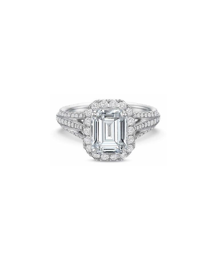Emerald Cut Diamond Semimount - Lesley Ann Jewels