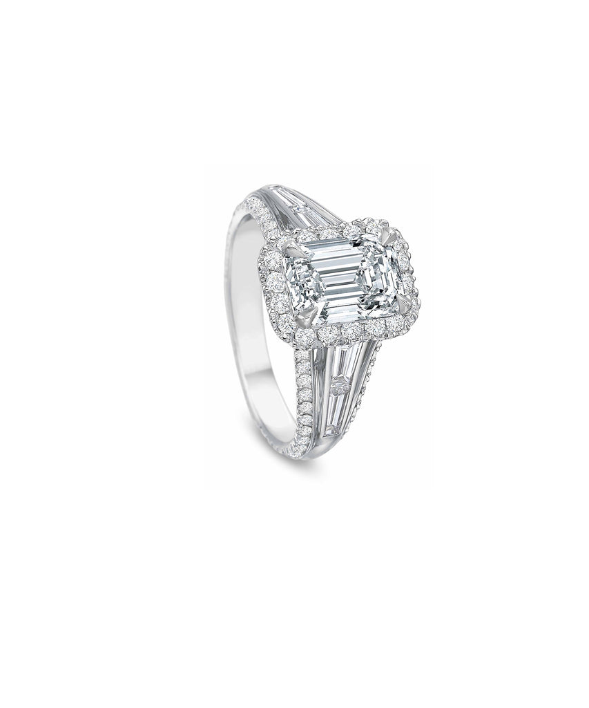 Semi-mount for emerald cut diamond
