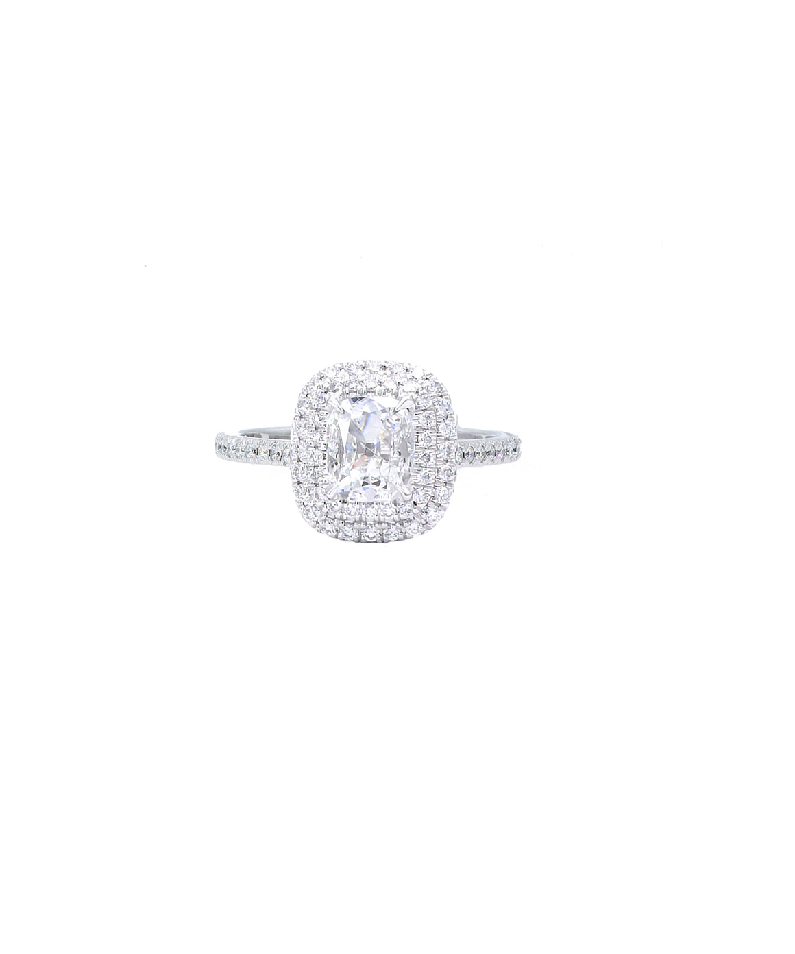 Cushion Cut Diamond in Double-Halo Setting - Lesley Ann Jewels