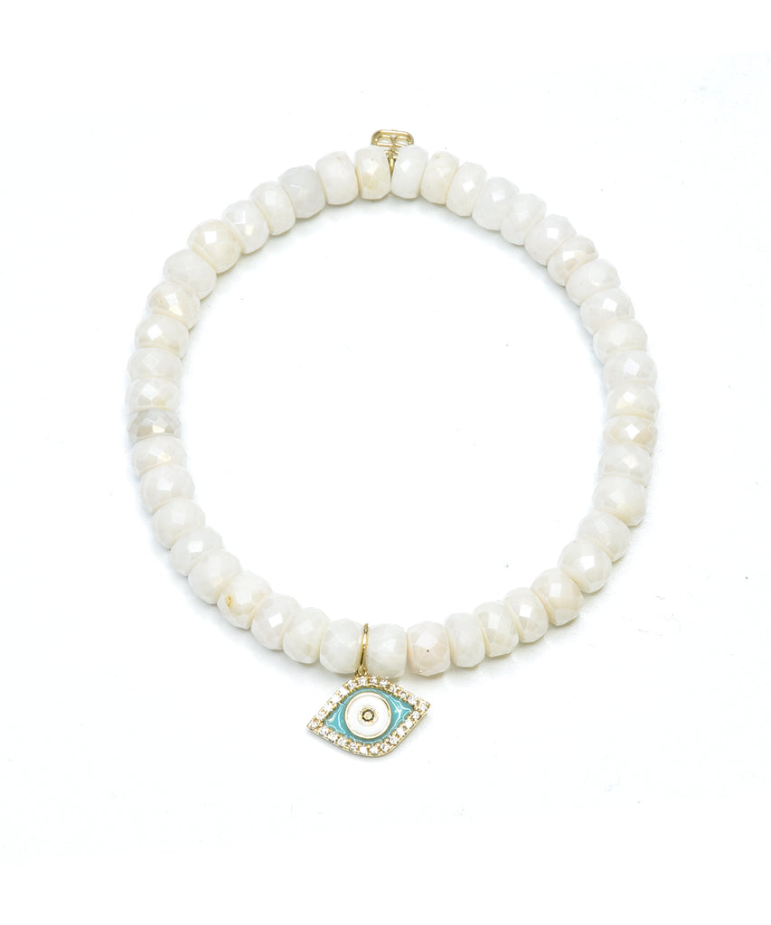 White quartz bracelet with evil eye charm