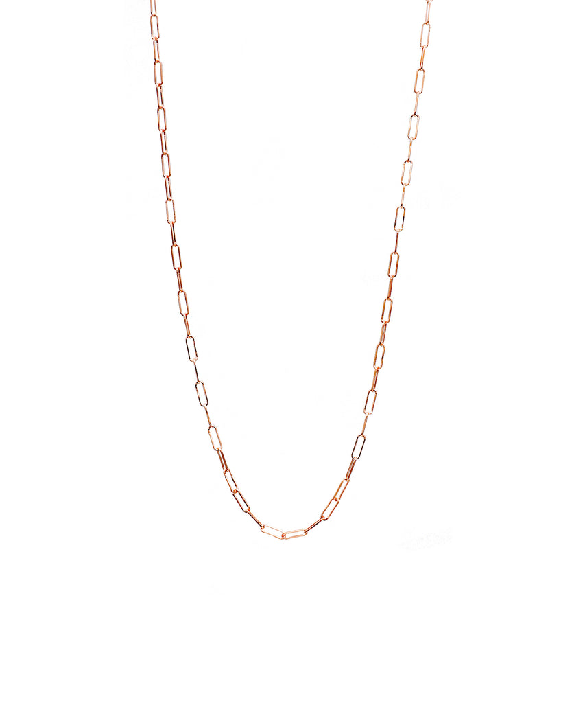 Small Rose Gold Paper Clip Chain - Lesley Ann Jewels