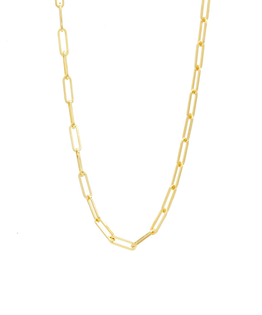 Paper Clip Chain in Yellow Gold - Lesley Ann Jewels