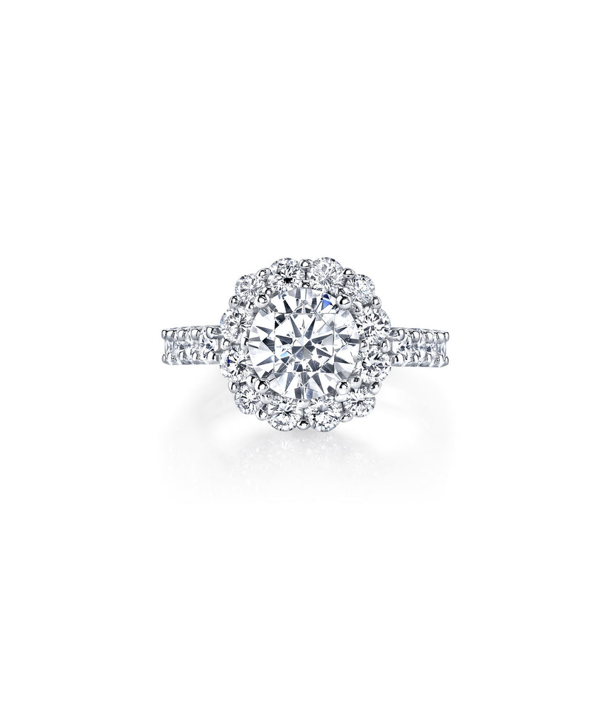 Halo semi-mount for 2.00 carat round diamond - Lesley Ann Jewels