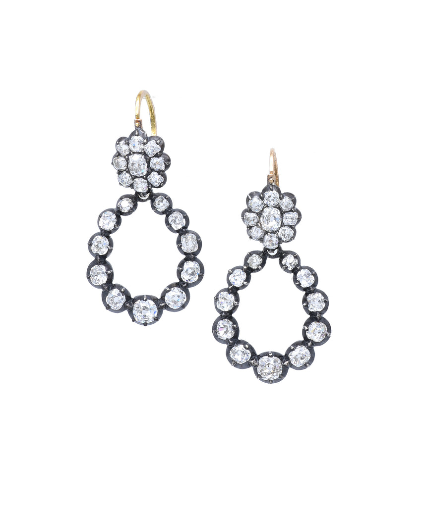 Antique earrings with removable drops