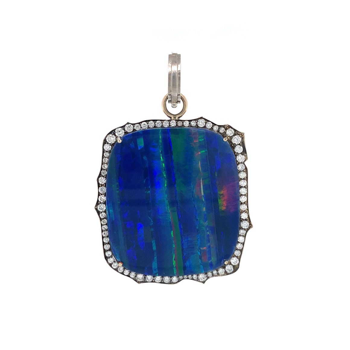 Opal Pendant with Diamonds - Lesley Ann Jewels