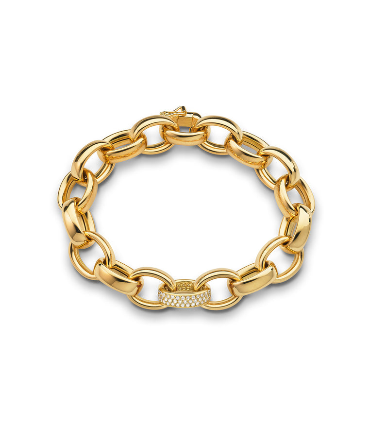 """Marilyn"" link bracelet with pavé link - Lesley Ann Jewels"