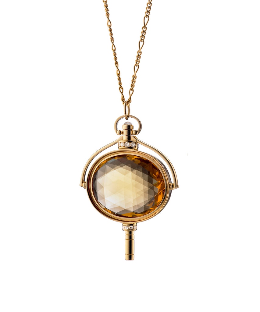 Honey Citrine Pocket Watch Key Pendant - Lesley Ann Jewels