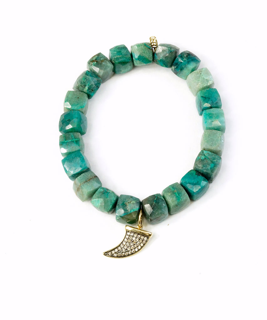 Chrysocolla bead bracelet with diamond horn charm