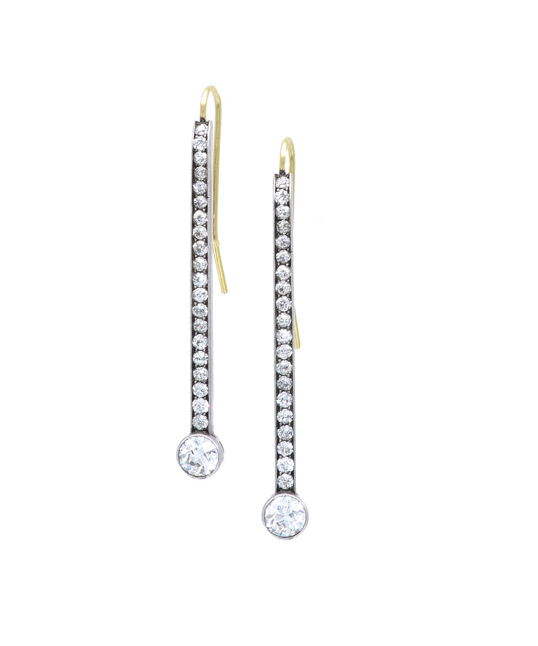 Vintage diamond stick earrings
