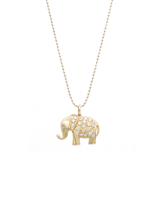 Small Yellow Gold and Diamond Elephant Necklace - Lesley Ann Jewels