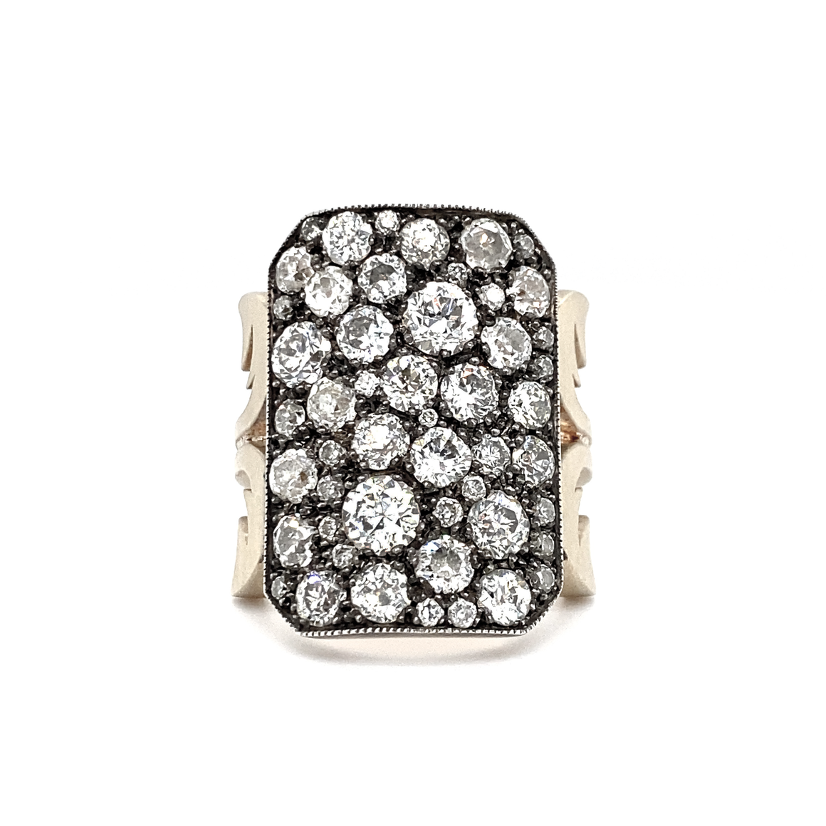 Short Ten Table Diamond Ring - Lesley Ann Jewels