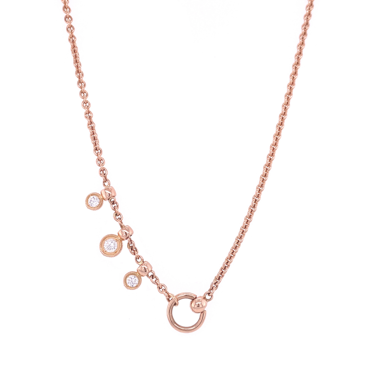 Bezel Drop Necklace - Lesley Ann Jewels