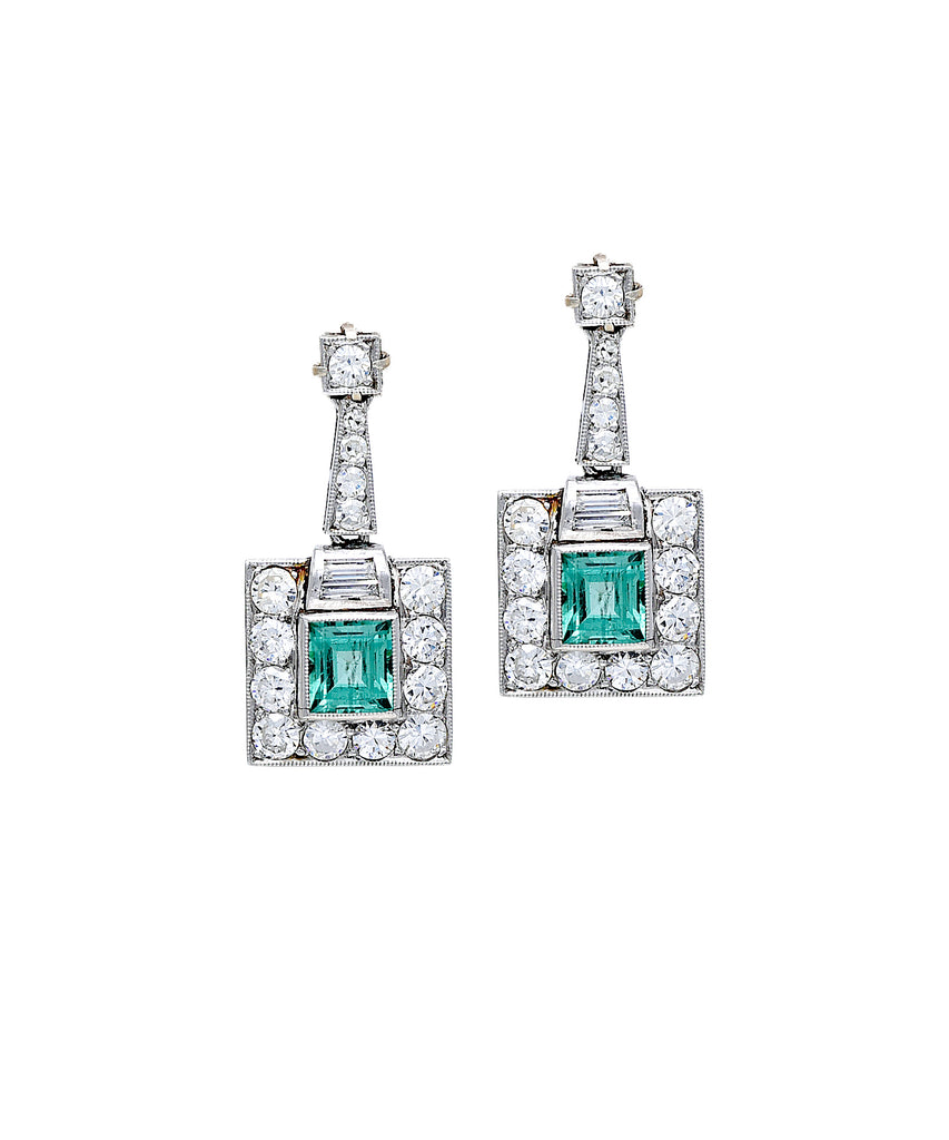 Art Deco emerald drop earrings - Lesley Ann Jewels