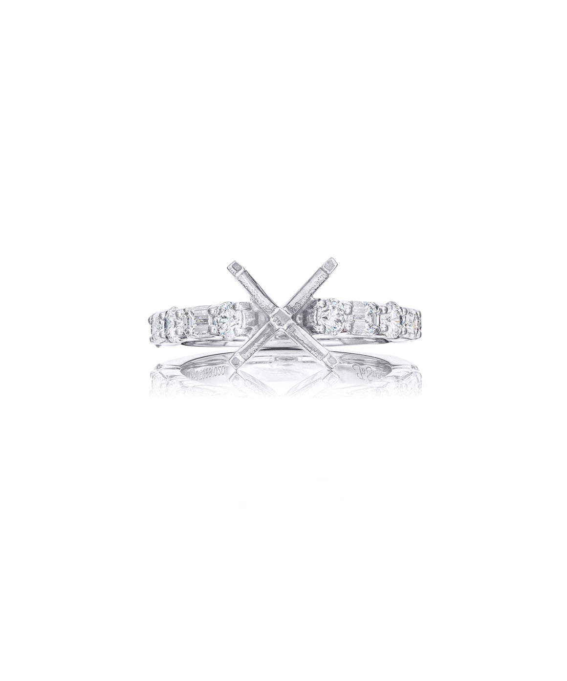 Semimount with Emerald Cut and Round Diamonds