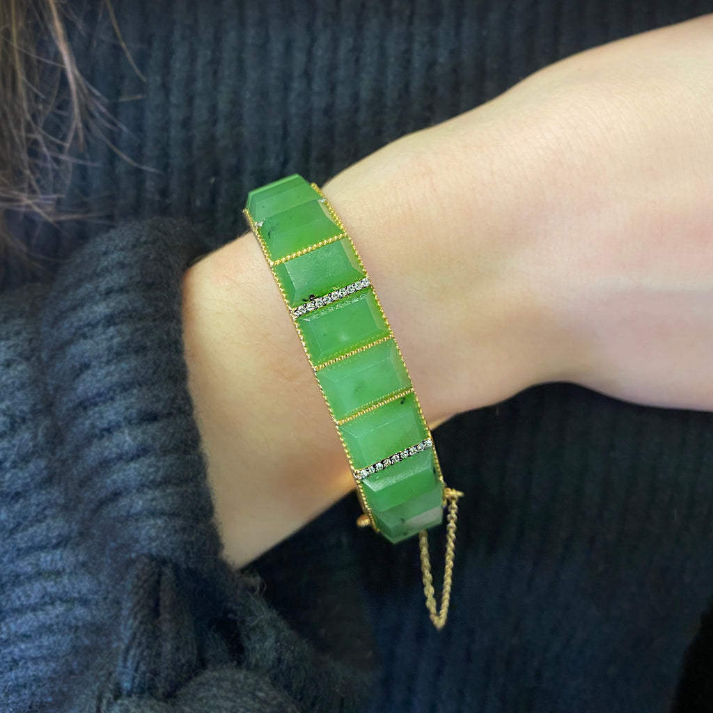 Green Nephrite Cuff - Lesley Ann Jewels