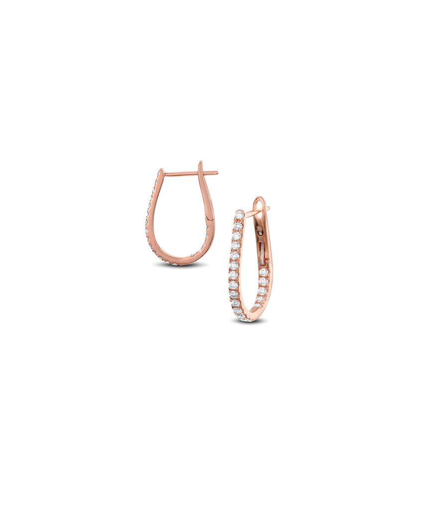Small Rose Gold Oval Hoops - Lesley Ann Jewels