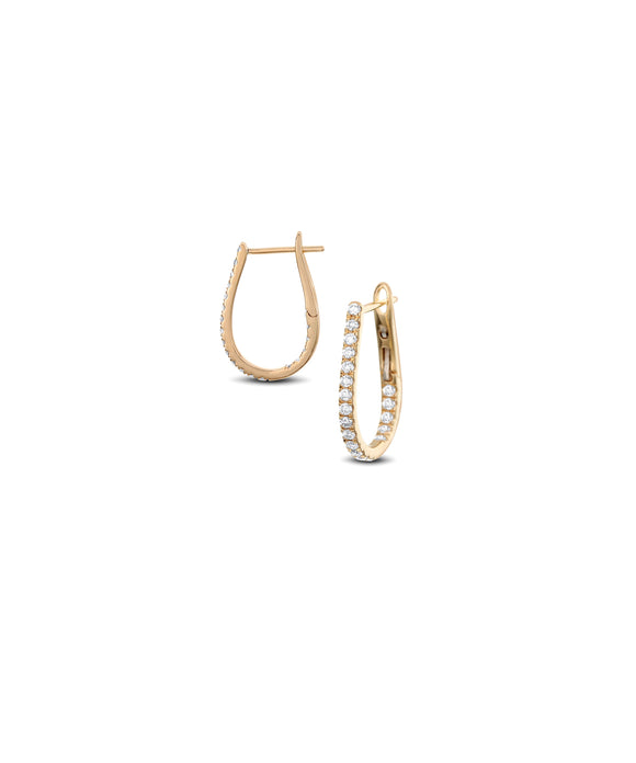 Small yellow gold oval hoops