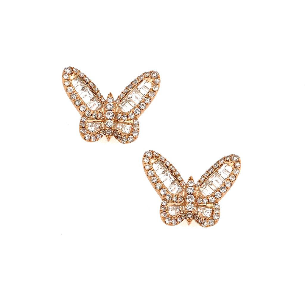 Rose Gold Baguette Diamond Butterfly Studs - Lesley Ann Jewels