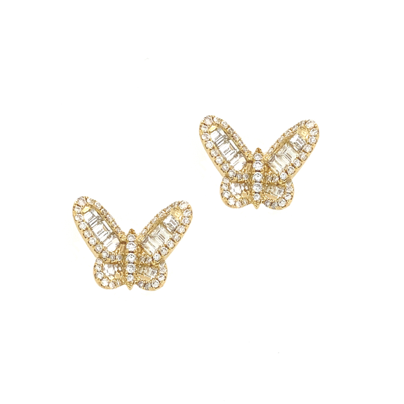 Yellow Gold Baguette Diamond Butterfly Studs - Lesley Ann Jewels