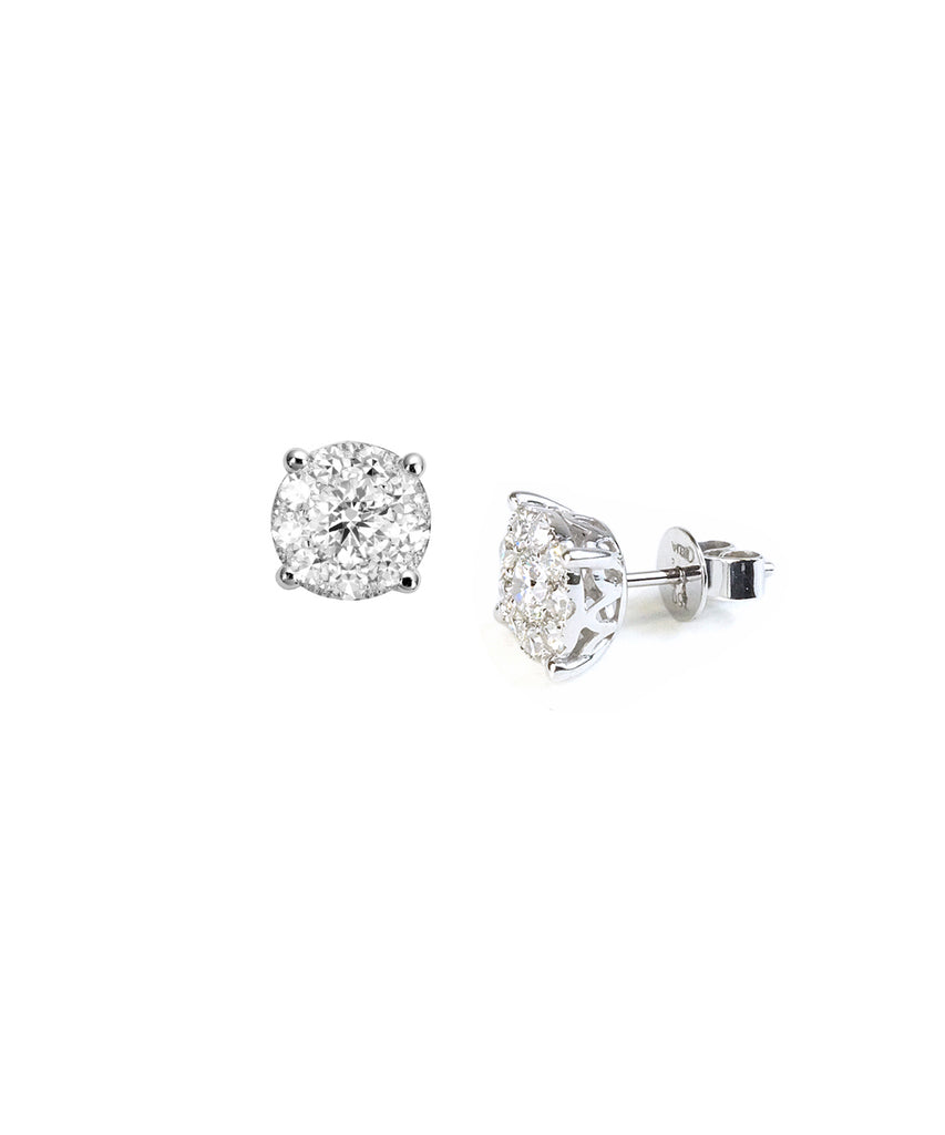 Diamond 1.00 carat tw cluster ear studs - Lesley Ann Jewels