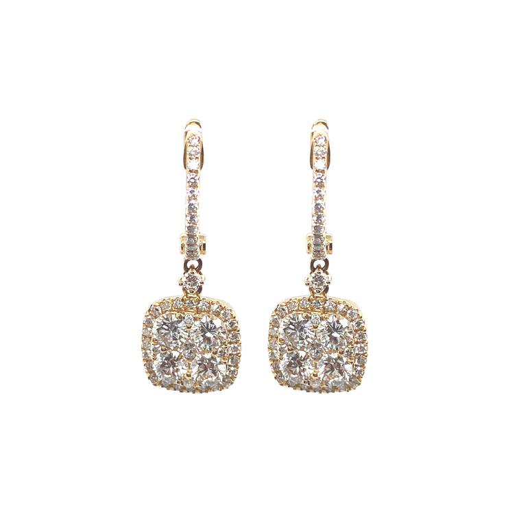 Cushion Diamond Drop Earrings - Lesley Ann Jewels