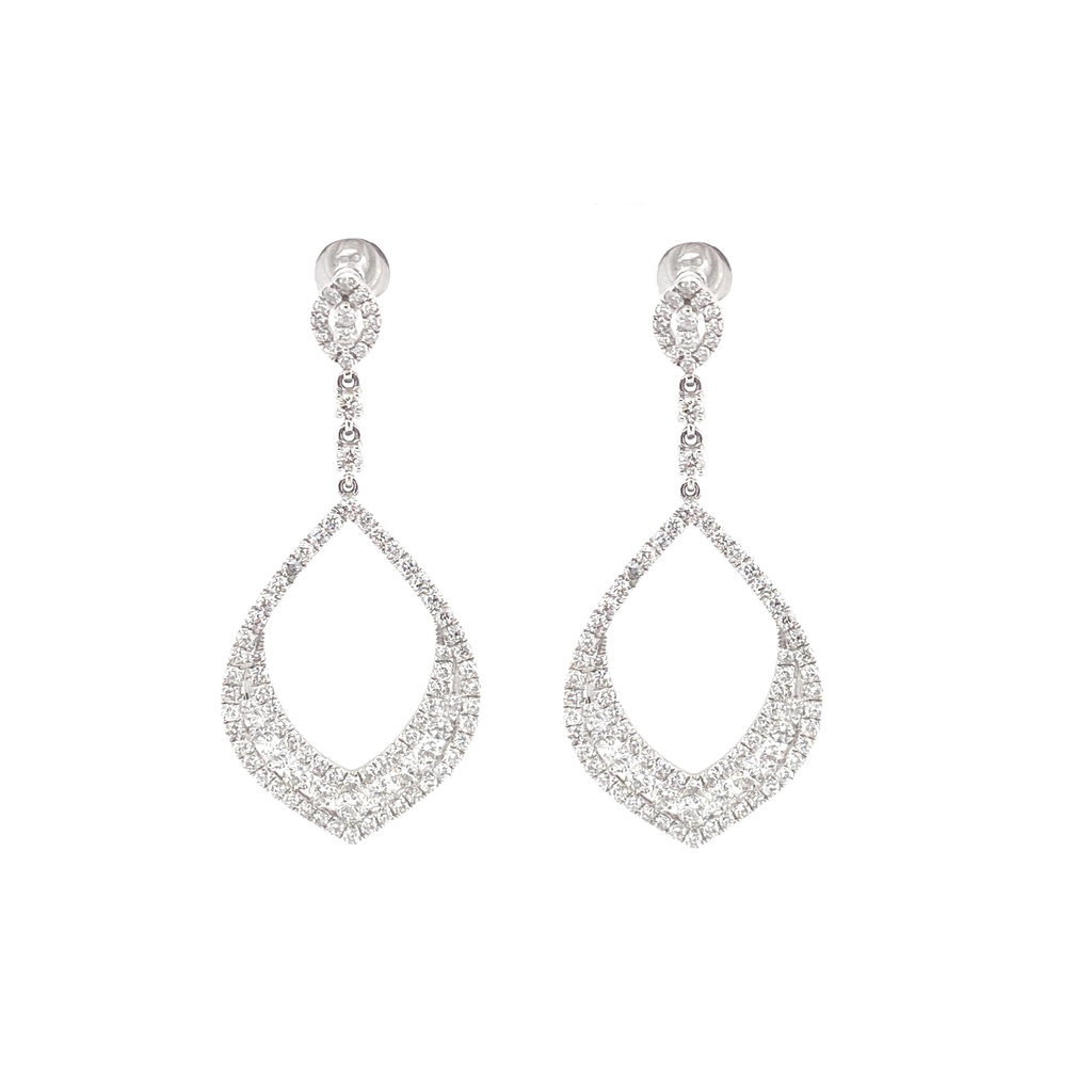 White Gold Teardrop Earrings - Lesley Ann Jewels