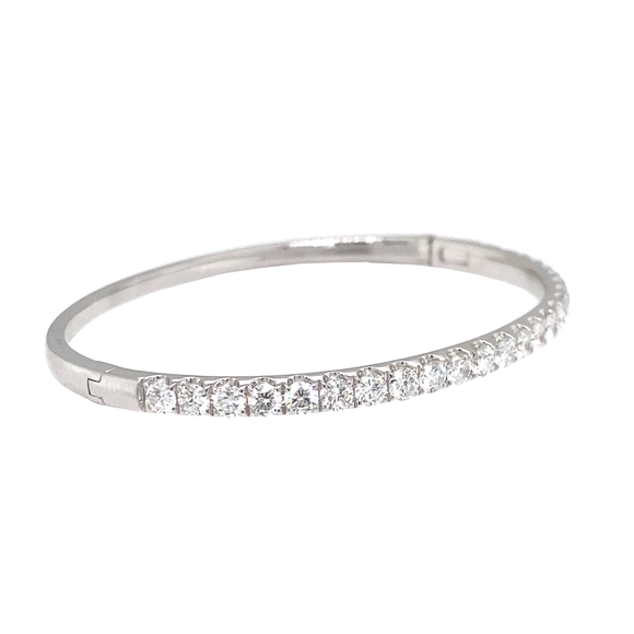 White Gold Oval Hinge Bangle - Lesley Ann Jewels