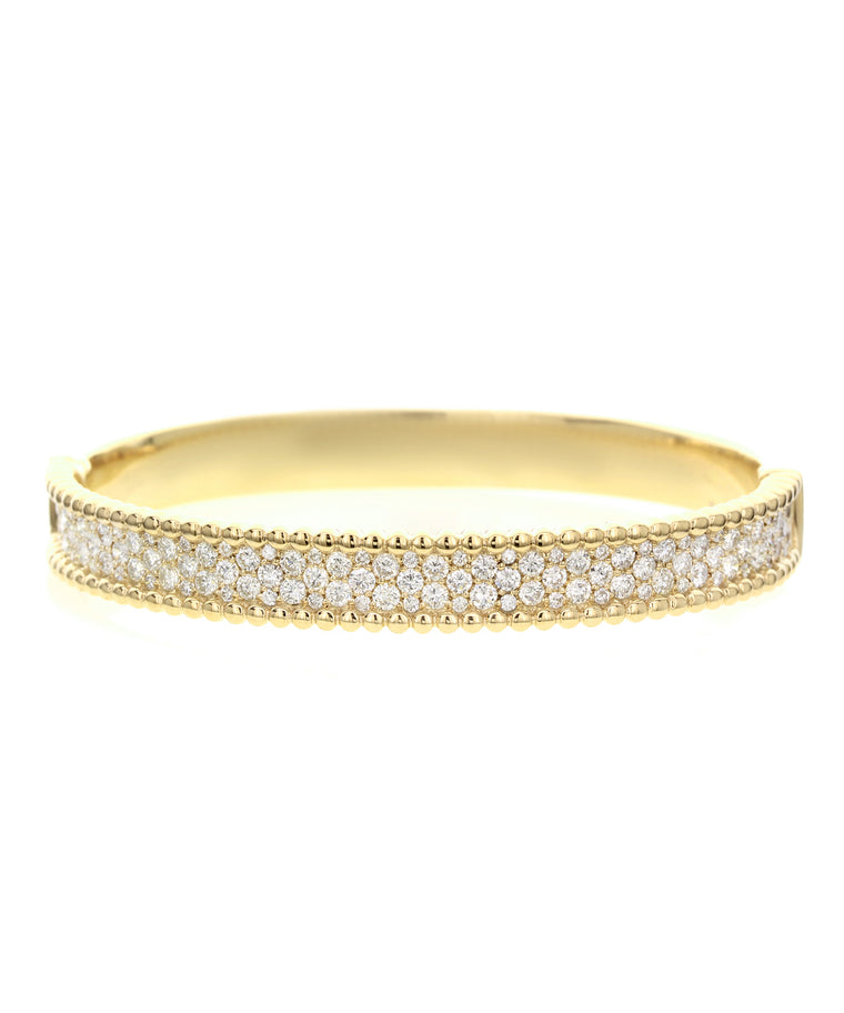 Diamond bangle with beaded edge