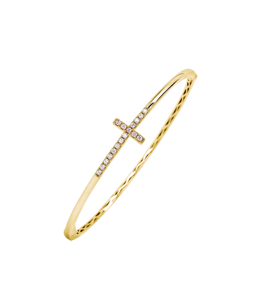 Cross bangle in yellow gold