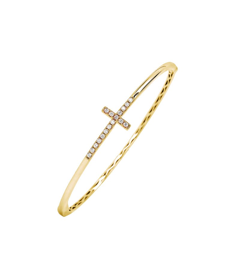 Cross bangle in yellow gold - Lesley Ann Jewels