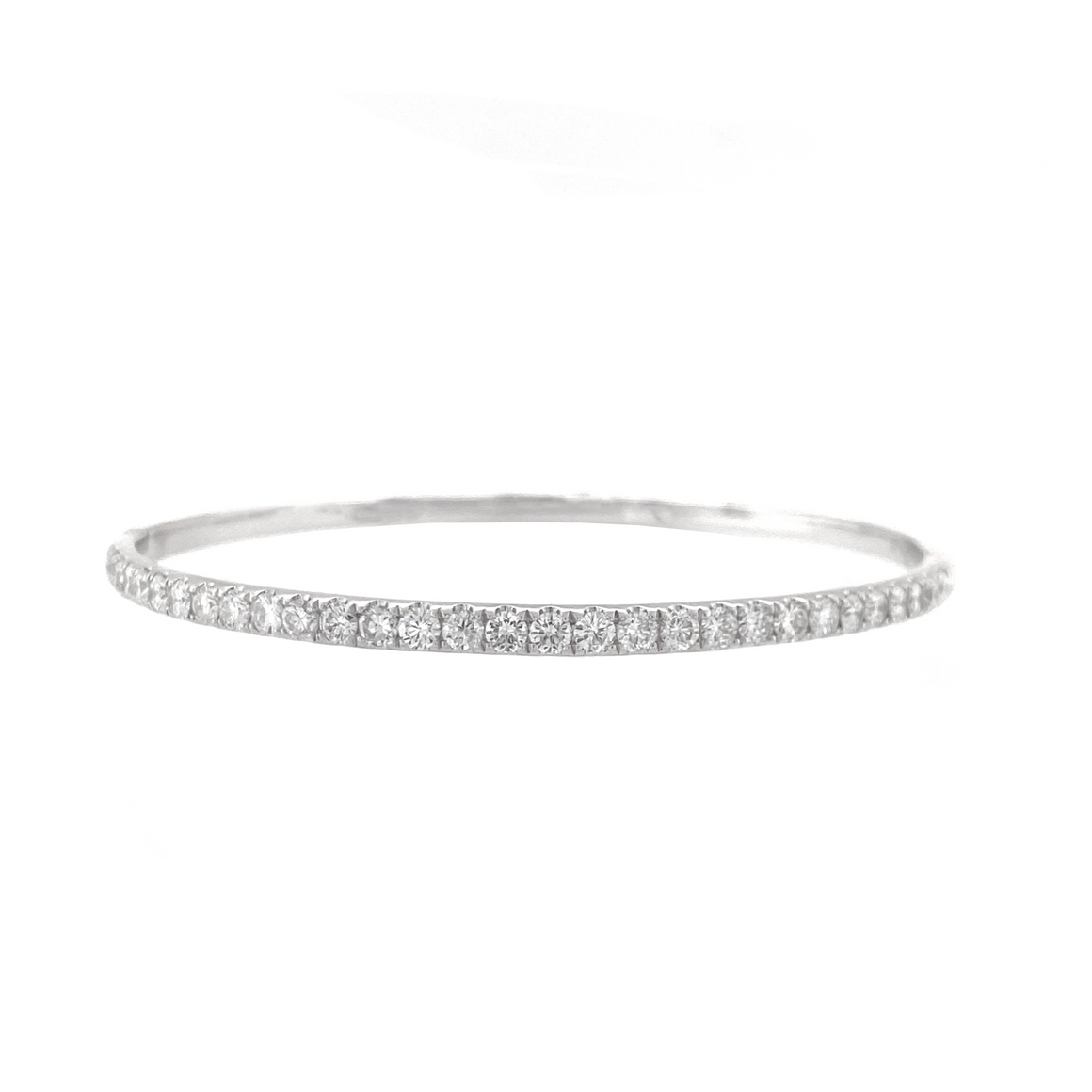 White Gold Hinged Bangle - Lesley Ann Jewels