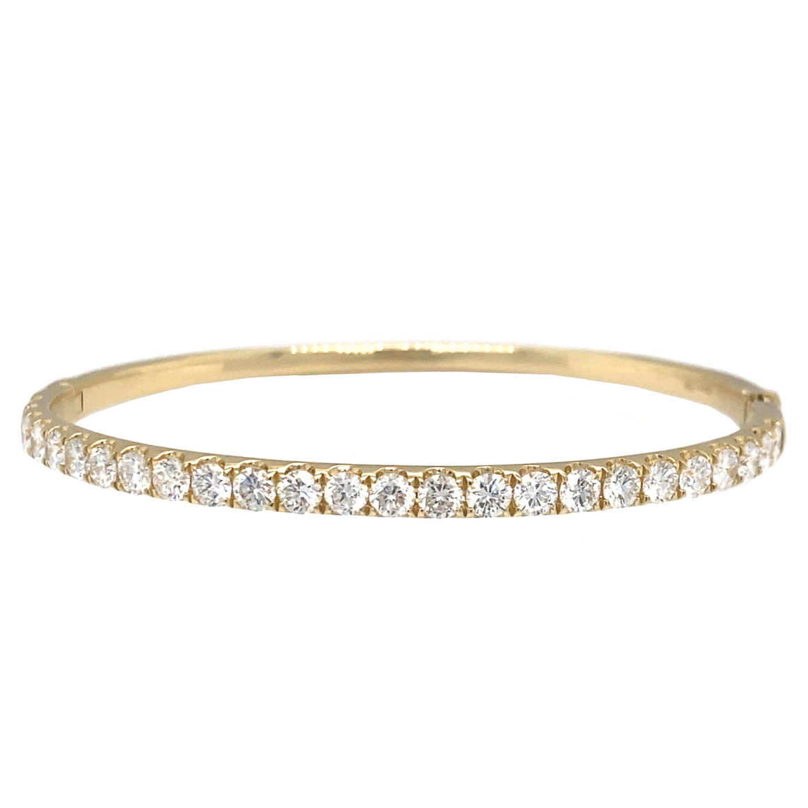 Yellow Gold Oval Hinge Bangle - Lesley Ann Jewels