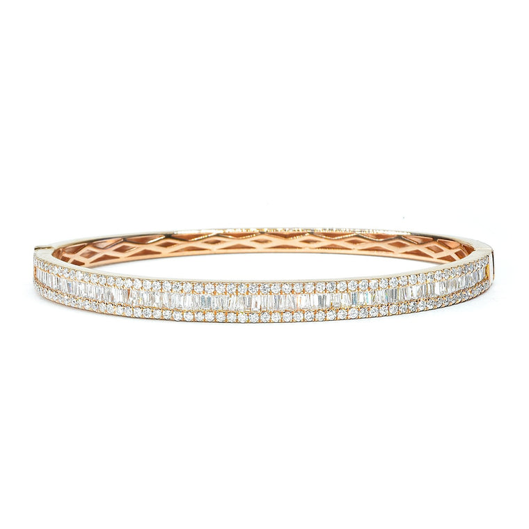 Rose gold bangle bracelet with baguettes
