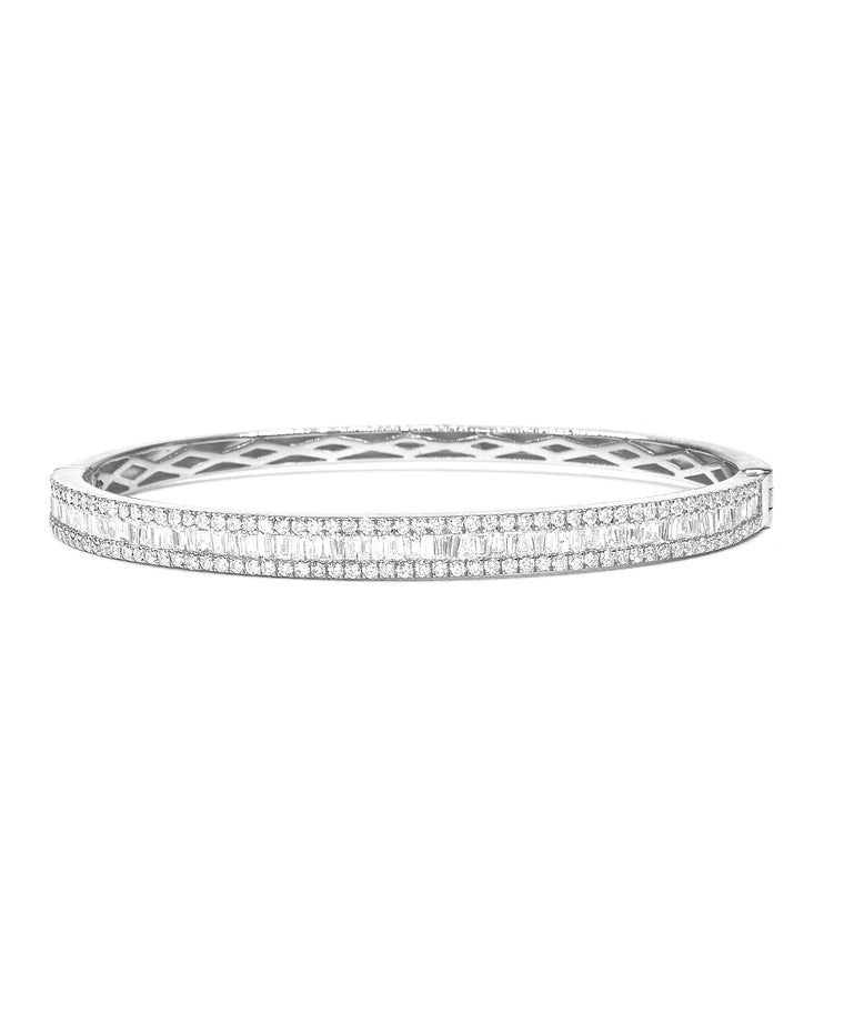 White Gold Baguette Diamond Bangle Bracelet - Lesley Ann Jewels