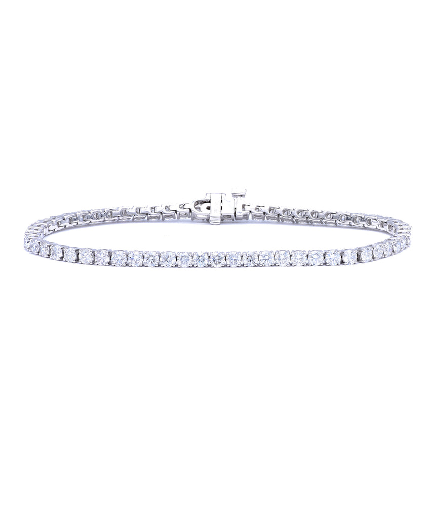 White Gold Diamond Line Bracelet - Lesley Ann Jewels