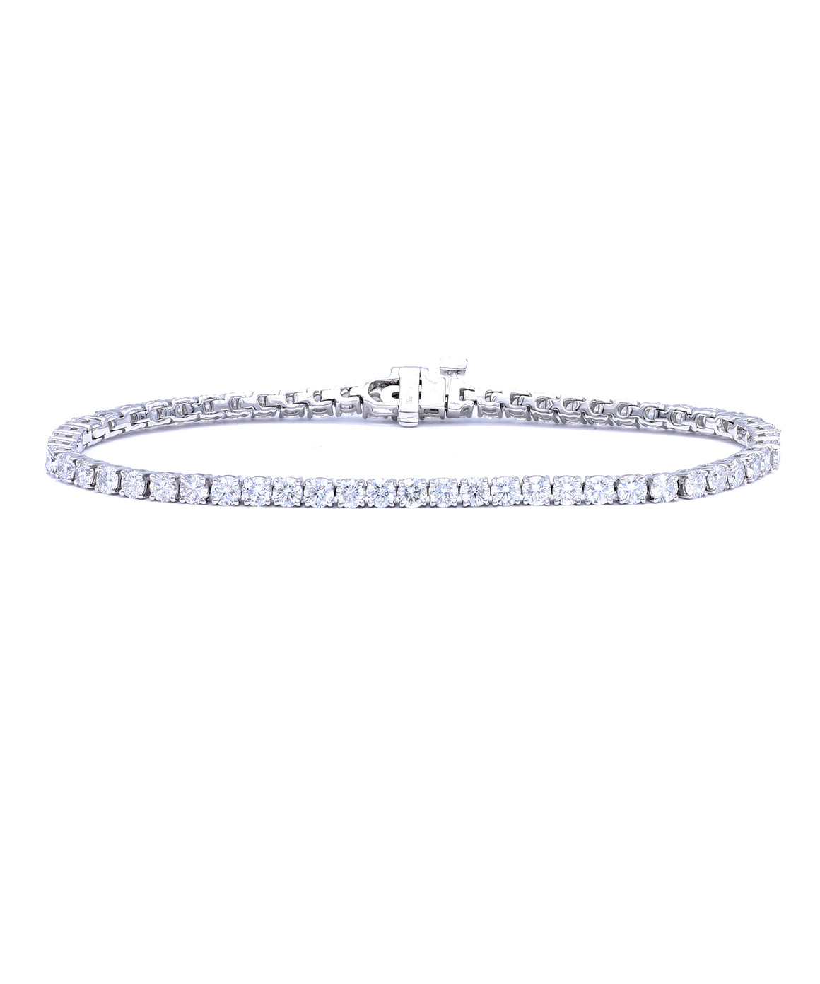 Diamond line bracelet in white gold