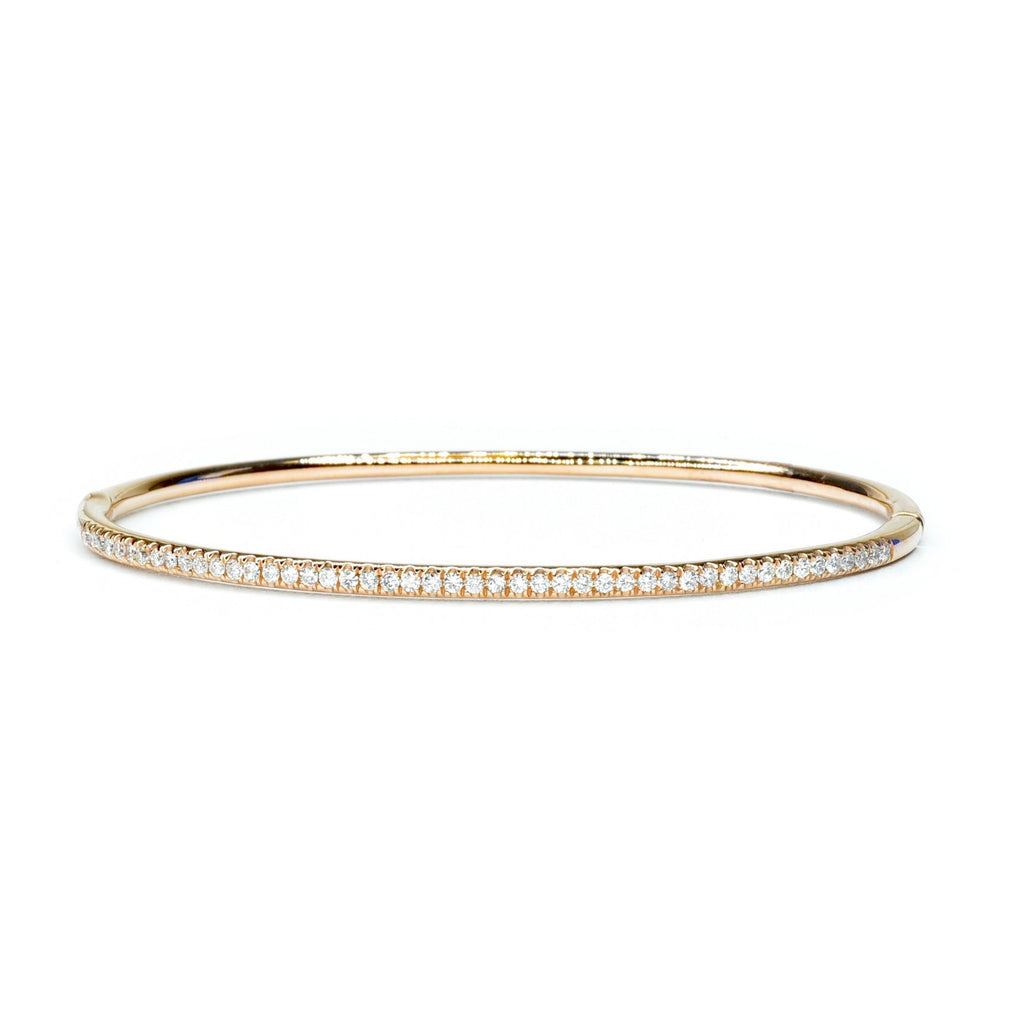 Narrow diamond bangle in rose gold