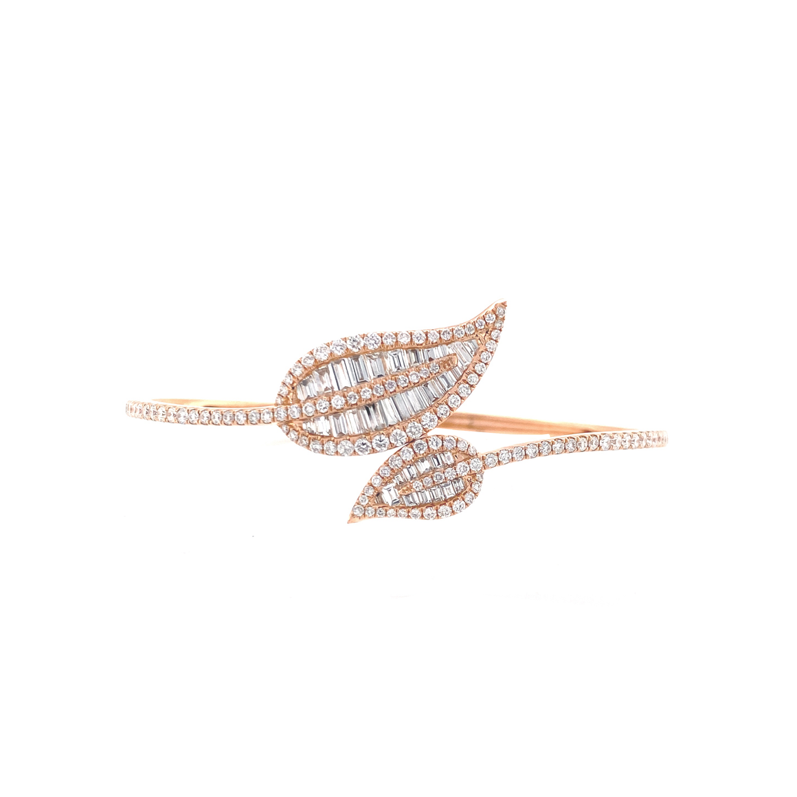 Baguette Diamond Leaf Bangle - Lesley Ann Jewels